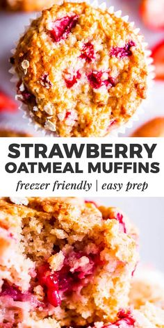 Strawberry Oatmeal Muffins are a delicious treat for breakfast or brunch!, Strawberry Oatmeal Muffins are a delicious treat for breakfast or brunch! They are filled with healthy ingredients and absolutely freezer friendly. Healthy Breakfast Recipes, Healthy Baking, Brunch Recipes, Gourmet Recipes, Cooking Recipes, Healthy Strawberry Recipes Clean Eating, Recipes For Strawberries, Strawberry Muffin Recipes, Healthy Meals