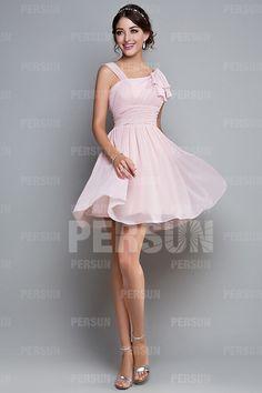 A-Linie Träger gefaltetes knielanges rosa Chiffon Brautjungfernkleid