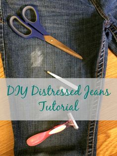 Real Girl's Realm: Distressed Jeans Tutorial The post Real Girl's Realm: Distressed Jeans Tutorial appeared first on Jean. Diy Distressed Jeans Tutorial, Diy Ripped Jeans Tutorial, How To Make Ripped Jeans, Ripped Jeggings, Skinny Jeans, Distressed Jean Jacket, Distressed Clothes, Diy Shorts, Clothing Hacks