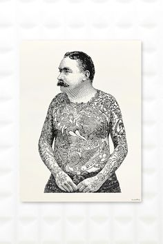 Tattoo Man Wall Art on recycled paper | urban outfitters