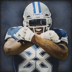 """Dez Bryant with his """"X"""" logo on his chest. Created for Dez and his ThanXgiving event."""