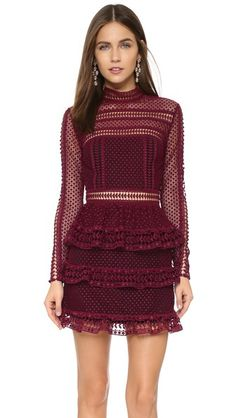 Self Portrait Women's Paneled Dress A romantic Self Portrait dress with a high neckline and tiered panels at the skirt. Nice Dresses, Short Dresses, Streetwear, Self Portrait Dress, Maroon Dress, Purple Dress, Panel Dress, Tiered Dress, Dress To Impress