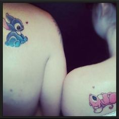 Im going to need a man that wants stitch on him after seeing this haha #soadorable #matchingtattoos #coupletattoos #liloandstitchmovie