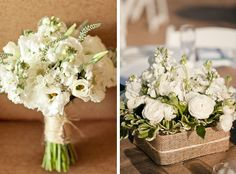 White bouquet wrapped with burlap.. love! @Allie Baldwin thought of you