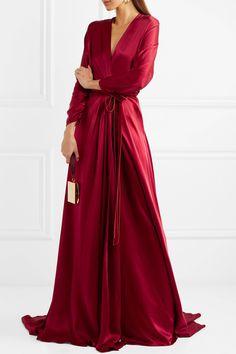 Jenny Packham | Velvet-trimmed satin-crepe wrap gown | NET-A-PORTER.COM