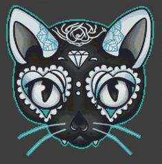 Cat Cross Stitch Kit By Miss Cherry Martini - Day of the Kitty Blue - Tattoo Art Needlecraft with DMC Materials - No Background Cross Stitch Kits, Cross Stitch Patterns, Sugar Skull Cat, Sugar Skulls, Cat Tattoo, Tattoo Art, Day Of The Dead Art, Blue Tattoo, Candy Art
