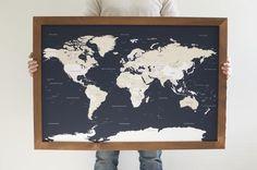 Navy World Dark Cedar Push Pin Travel Map (24x36)