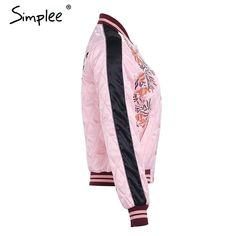 Flower embroidery cotton padded jacket coat Autumn winter gold button bomber jacket Women outwear pink basic jackets