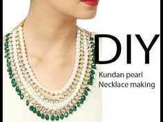DIY How to make Multi layered kundan bridal designer necklace jewelry making tutorial at home - YouTube