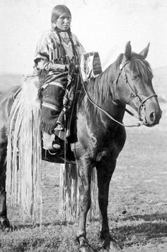 Nez Perce woman named E We Tone My on horseback