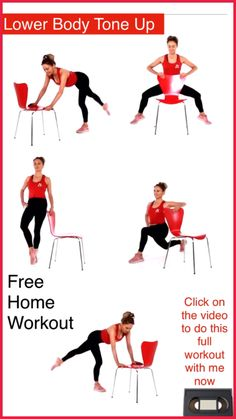 7 Minute Leg Toning Workout - This home fitness exercise video is going to tone and sculpt your legs and all you need for this exercise routine is a chair. I coach you through each move so it is just like having your own personal trainer. So no excuses co Leg Workout At Home, Fitness Workout For Women, Fitness Routines, Fitness Workouts, Butt Workout, At Home Workouts, Workout Routines, Morning Ab Workouts, Side Fat Workout