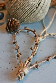 Simple, Natural heart from twigs and jute string