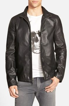John+Varvatos+Star+USA+Zip+Front+Leather+Jacket+available+at+#Nordstrom