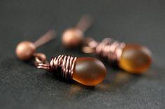 COPPER Earrings  Clouded Amber Teardrop by TheTeardropShop on Etsy, $22.00