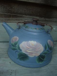 Vintage hand painted shabby chic teapot, Shabby chic tea kettle, Provincial french decor, country cottage chic. $15.00, via Etsy.
