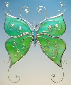 Aqua Green Stained Glass Tribal Butterfly w/ Filigree and Crystals