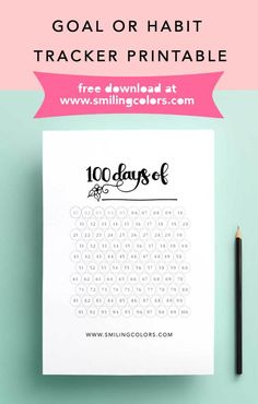 Goal tracker, habit tracker FREE printable download www.smilingcolors.com