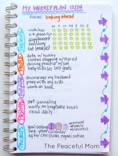 My Weekly (looking ahead) Plan 12-24-2012--The Peaceful Mom