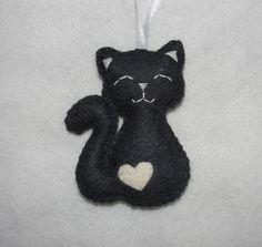 Cute Wool Felt Cat Ornament, Gray Cat Ornament, Decor, Birthday Gift, Felt Animal, Housewarming, Animal Ornament by NitaFeltThings on Etsy