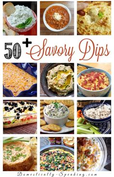 50 Savory Dips perfect for football and parties - lots of cheese, chili and more you'll love