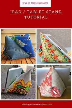 Video tutorial: Make an iPad or tablet stand in 15 minutes Sewing Patterns Free, Free Sewing, Sewing Hacks, Sewing Crafts, Sewing Ideas, Tablet Stand, Diy Ipad Stand, Ipad Tablet, Sewing Projects For Beginners