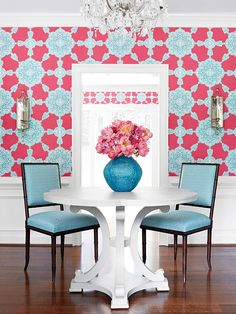 Bold wallpaper and chair rail . Thibaut Wallpaper: Medallion Paisley from the Trade Routes Collection - a new introduction for Fall 2015 Hadley Court Interior Design Paisley Wallpaper, Fabric Wallpaper, Wall Wallpaper, Oriental Wallpaper, Trellis Wallpaper, House Of Turquoise, Pink Turquoise, Fabric Houses, Bathroom Wallpaper