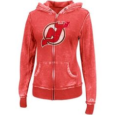NHL Womens New Jersey Devils Delayed Call Washed Athletic Red Heather Long Sleeve Full Zip Hood Brnout Fleece By Majestic (Washed Athletic Red Heather, Large) by Majestic. $37.74. Majestic'S Delayed Call Full-Zip Hoodie Is Designed With The Nhl Female Fan In Mind. Rooting For Your Favorite Boys Doesn'T Mean You Have To Look Like One! Keep Warm, And Stylish, In This Long Sleeve, Full-Zip Seam Burnout Fleece Hoodie With Pouch Pockets And Weathered Screenprint Design.