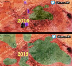 Have the rebels been defeated in #Damascus , #Syria ? Huge difference in the frontlines, 2013 compared to 2016.