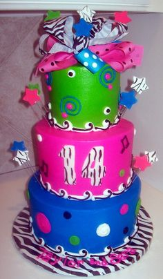 Theme Cakes By Tracy - 14th Birthday Bright Zebra