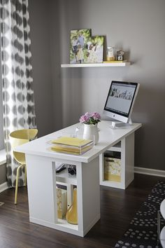 Grey & Yellow Office space, love this!
