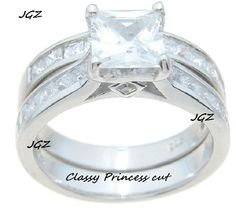 Beautiful Princess cut Engagement/Wedding Ring set. Available in Size 5/6/7/8/9 .FREE Black Velvet Gift Box.