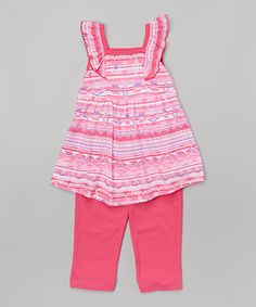 Look at this #zulilyfind! Fuchsia Geo Stripe Tank & Leggings - Infant, Toddler & Girls by Littoe Potatoes #zulilyfinds