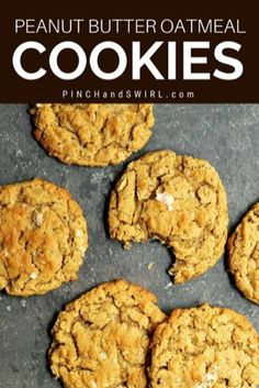 Peanut Butter Oatmeal Cookies - Pinch and Swirl Delicious Cookie Recipes, Best Cookie Recipes, Fudge Recipes, Yummy Cookies, Winter Desserts, Easy Desserts, Dessert Recipes, Healthy Desserts, Hot Fudge Cake