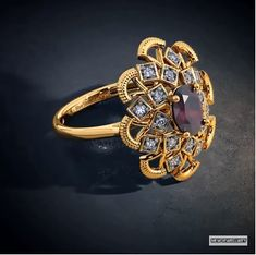 Designer Gold Ring Designs for Female - Indian Fashion Ideas Antique Jewellery Designs, Gold Earrings Designs, Gold Jewellery Design, Antique Jewelry, Gold Rings Jewelry, Black Gold Jewelry, Beautiful Gold Rings, Antique Gold Rings, Medieval Jewelry