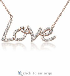 """Ziamond Cubic Zirconia Love Necklace features the word """"Love"""" beautifully written and highlighted with micro pave set man made diamond quality round cz in 14k gold. #ziamond #cubiczirconia #love #necklace #14kgold"""