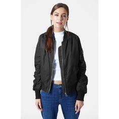 Women's Topshop 'Boris' Bomber Jacket ($105) ❤ liked on Polyvore featuring outerwear, jackets, black, military inspired jacket, military jacket, military style jacket, blouson jacket and military fashion