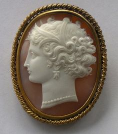 cameo with upswept hairstyle