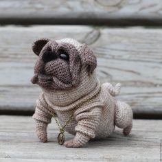 Купить Юлик - бежевый, мопс, собака, собака крючком, бульдог, игрушка ручной работы, холлофайбер