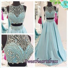 2016 beaded blue chiffon two pieces prom dress with beautiful top details, long prom dress for teens