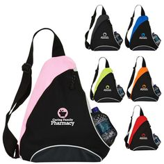 Promotional Triangular Slingpack. Showcase your company''s logo to spread maximum brand awareness among your target audience with these #custom #promotional #backpack. As low as: $5.83