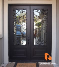 porteusa.com Wrought Iron Double Door by Porte, Color Dark Bronze and Clear Glass