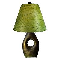 Earthenware Base with Cocoa Leaf Shade Lamp - UncommonGoods - This lamp is for the TRUE chocoholics out there. It's been handmade with 25% recycled material (green!), colored with organic dyes (green and healthy!), and the shade is made of dried coca leaves (green and sweet!). #greendorm