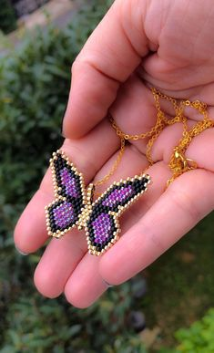 Miyuki butterfly necklace with gold filled chain designed by ZDA, beaded butterfly necklace for women. It is made with high quality japanese miyuki beads. Gold parts are made with gold plated beads. PLEASE KEEP YOUR ITEMS in a zipper bag , away from water Womens Jewelry Rings, Jewelry Necklaces, Women Jewelry, Fashion Jewelry, Beaded Bracelets, Diy Jewelry, Necklace Ideas, Necklaces For Women, Hang Necklaces