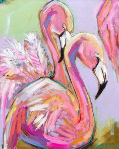 Flamingo Mingo -Paintings by Brooke Ring - Art // colorful flamingo art decor // abstract animal painting // abstract flamingo painting Colorful Animal Paintings, Abstract Animals, Abstract Art, Colorful Animals, Abstract Flowers, Flamingo Painting, Flamingo Art, Pink Painting, Painting Flowers