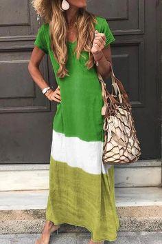 Ankle-Length Short Sleeve V-Neck Pullover Casual Maxi Dress Long Sleeve Short Dress, Maxi Dress With Sleeves, Short Sleeves, Dress Long, Sleeved Dress, Casual Mode, Casual Dresses For Women, Dress Casual, Look Fashion