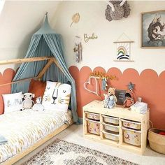 I love this amazing kids room with an on-trend rust coloured scallop wall, house bed and contrasting pale blue canopy. Big Girl Bedrooms, Small Room Bedroom, Little Girl Rooms, Girls Bedroom, Bedroom Decor, Happy Baby, New Room, Home Remodeling, Kids Room