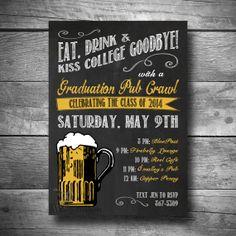 Pub Crawl Invitation for College Graduation, Graduation Invite, Printable Text or Email Graduation Party Invite