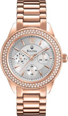 Bulova Gold Tone Stainless Steel Crystal Watch - Made with Swarovski Elements - - Women Fancy Watches, Rose Gold Watches, Ladies Watches, Quartz Watches, Stainless Steel Jewelry, Stainless Steel Watch, Bling Bling, Bulova Watches, Quartz Jewelry