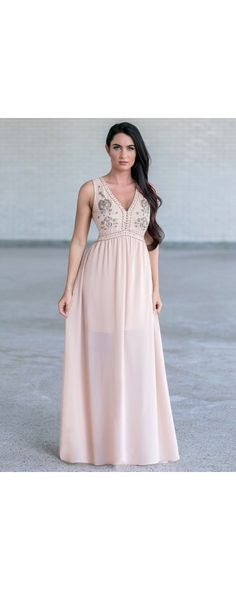 Whether you're going for a laid back hippie vibe or you want to go all out glamorous, this dress is the perfect choice. The Natural Beauty Beaded and Embroidered Maxi Dress is a Nude Beaded Maxi Dress, Embellished Nude Maxi Dress, Beige Maxi Dress. Beige Maxi Dresses, Cute Maxi Dress, Cute Prom Dresses, Formal Dresses, Dresser, Bridesmaids, Bridesmaid Dresses, Lily Boutique