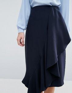 Closet Ruffle Detail Pencil Skirt